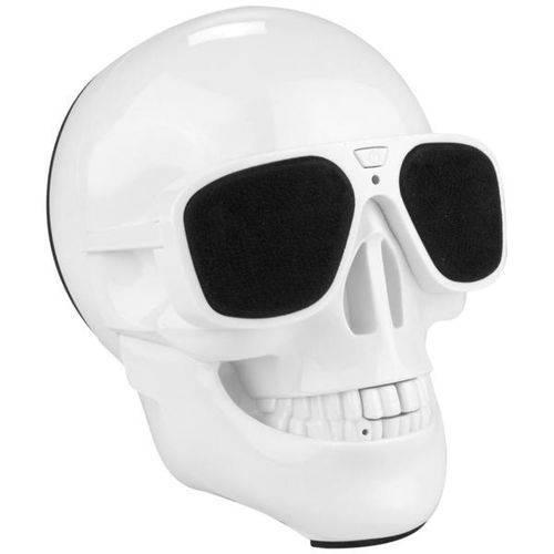 Caixa de Som Caveira Bluetooth Grande com Entrada Mini Sd Branco Brilhante Exbom - 2746