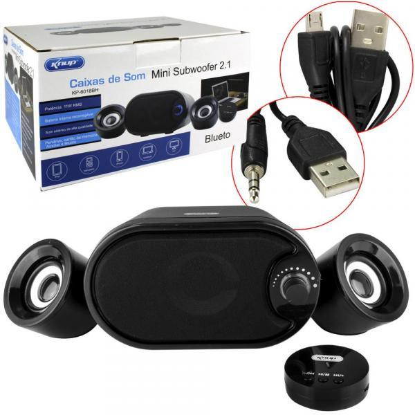 Caixa de Som Mini Subwoofer 2.1 Bluetooth KNUP KP-6018BH KP-6018BH KNUP