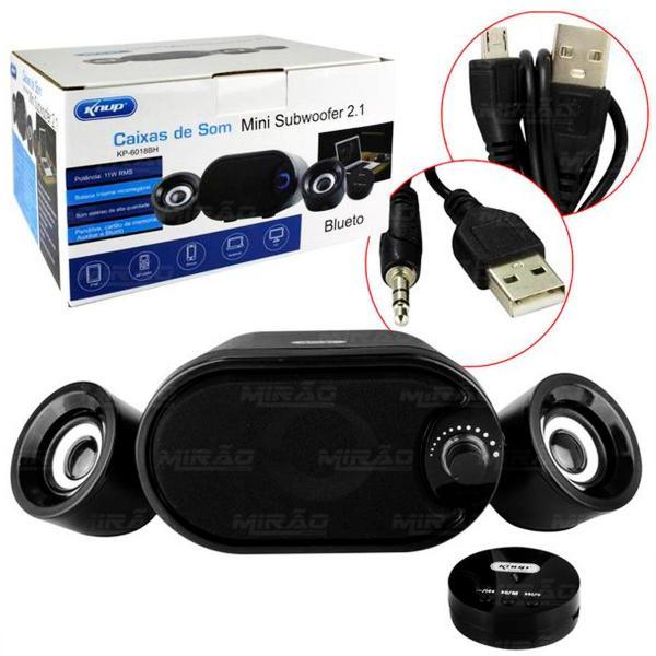 Caixa de Som Mini Subwoofer 2.1 Bluetooth - KP-6018BH - Knup