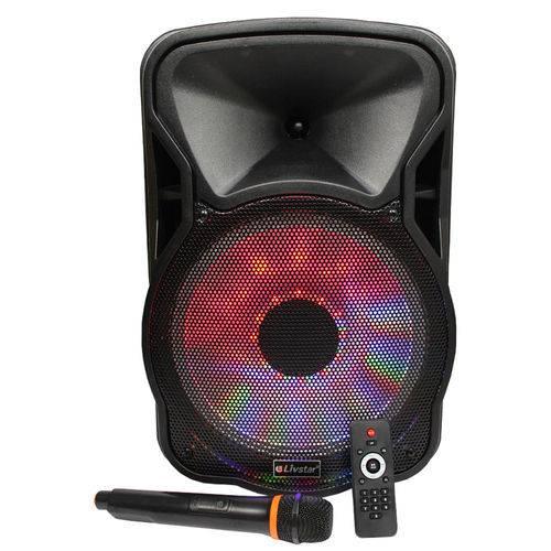 Caixa de Som Profissional Potente Livstar - Radio Fm/ Bluetooth/ 1 Microfone/ Entrada Tf e Usb/ Força Rms 55w/ Bateria Recarregável