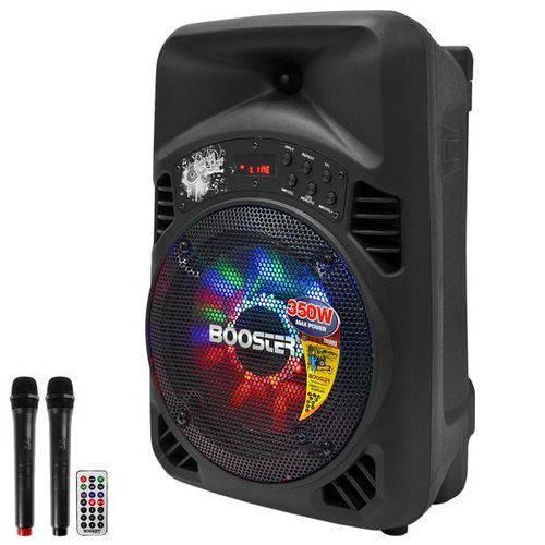 "Caixa Karaokê Booster Tx08bs 8"" 350 Watts com Bluetooth/usb/fm + 2 Microfones - Preto"