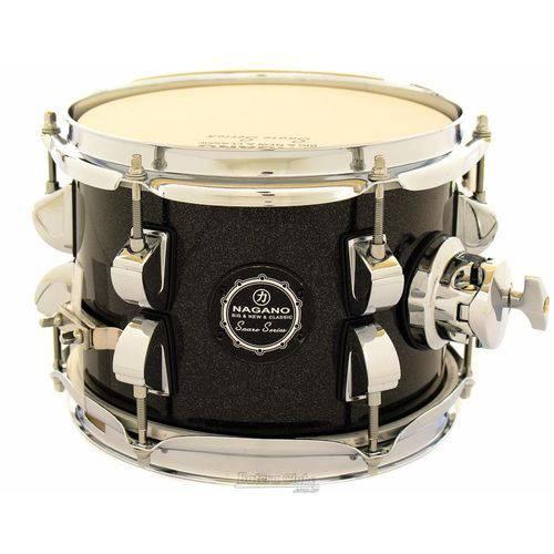 Caixa Nagano Snare Series Micro New Beat Ebony Sparkle 8x6¨ com Caneca e Clamp Holder para Fixação