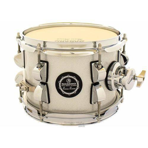 Caixa Nagano Snare Series Micro New Beat Grey Sparkle 8x6¨ com Caneca e Clamp Holder para Fixação
