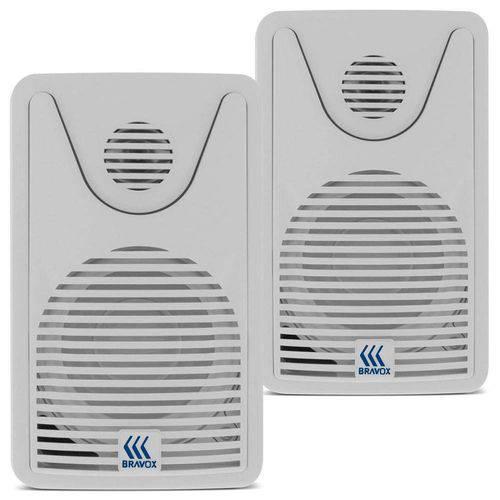 Caixa Som Ambiente Ativa 3,5 Pol 60w Bravox Foco 35 Branca (Par)