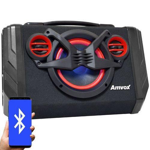 Caixa Som Amplificada Portátil Bluetooth 80W Rms Mp3 Fm Usb Aux Bivolt Bateria Amvox ACA 110 Black