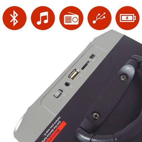 Caixa Som Portátil Amplificada Mp3 Fm Sd USB Bluetooth 15wrms