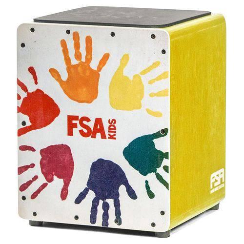Cajón Infantil Fsa Kids Series Fk15 Amarelo com 32cms de Altura, Esteira Interna e Assento em E.v.a