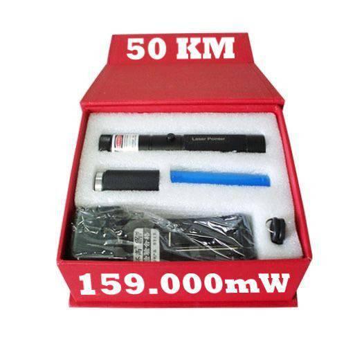 Caneta LASER Pointer 159.000mw, 50KM, Mais Forte Verde Kit Estojo Luxo