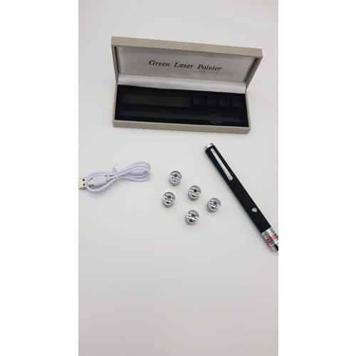 Caneta LASER Pointer Recarregável USB Verde 5 Pontas Efeitos