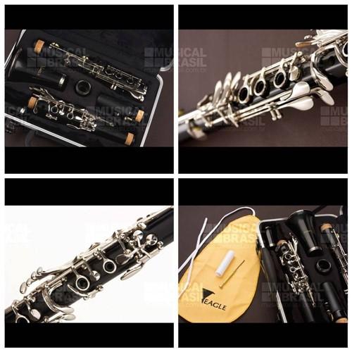 Clarinete Eagle Cl02 em Sib (Bb) 17 Chaves com Case - Verniz Brilhante