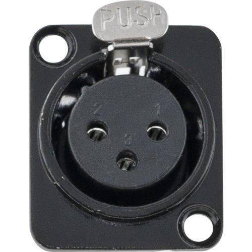 Conector XLR Femea Painel 3 Polos Niquelado HX049F Preto HYX