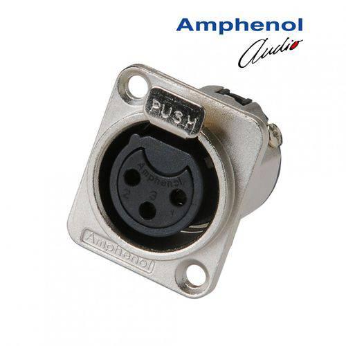 Conector Xlr 3p Femea Painel Amphenol Ac3fdz/n