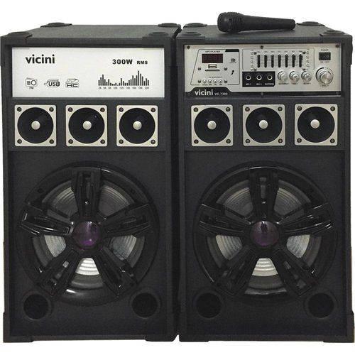 Conj. 2 Caixas Acústicas Mp3, Fm, Bluet, Microf, 300wrms, Entr Usb, Sd e Guitarra Vicini Vc-7300