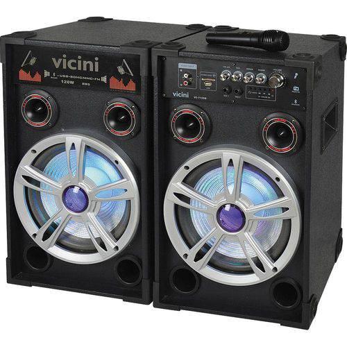 Conj 2 Caixas Amplif. com Mp3, Fm, Bluetooth, Microfone, 120wrms, Entradas Usb e Sd Vicini Vc-7120b