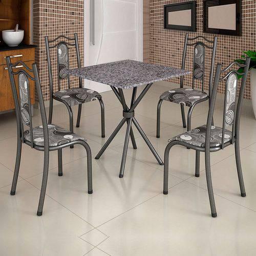Conjunto de Mesa Uruguai 0,70m Tampo Mdp com 4 Cadeiras 620/15 Madmelos Craquelado Dark / Folha