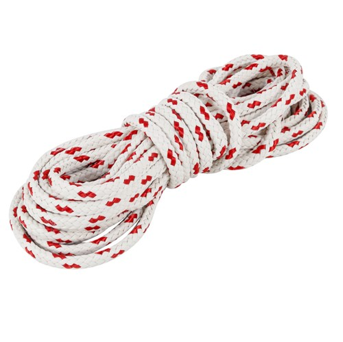 Corda Poliéster Trançada 10mmx10m Branco e Vermelho Standers