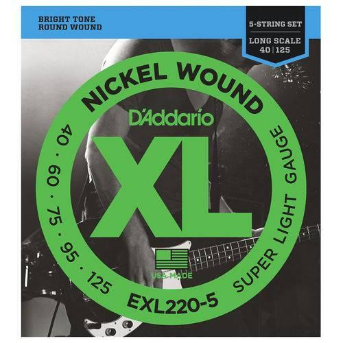 Cordas P/ Baixo Daddario Nickel Woun 5c Exl220-5 040/125