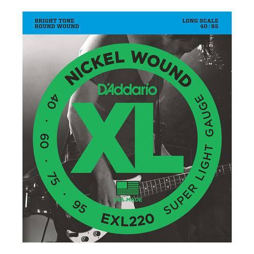 Cordas P/ Baixo Daddario Nickel Wound 4C EXL220 040/095