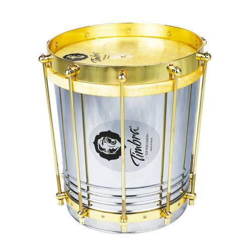 Cuíca Cônica 10 Polegadas X 30 Cm Aço com Aro Dourado