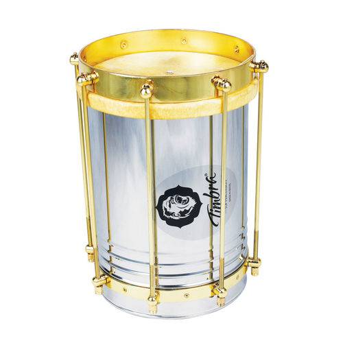 Cuíca Reta 08 Polegadas X 30 Cm Aço com Aro Dourado