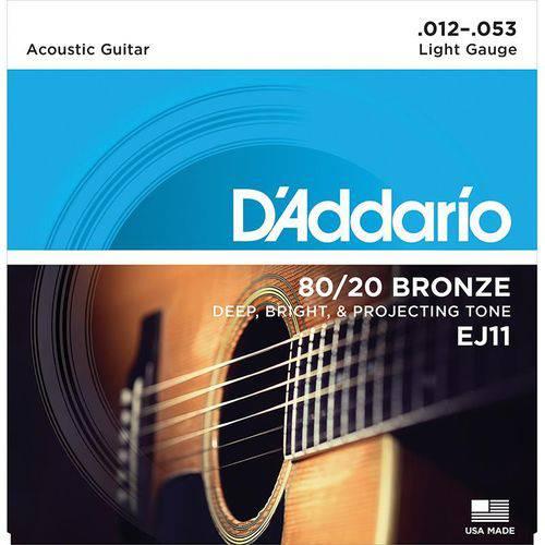 Encordamento para Violão 012 Aço Cordas Daddario Bronze EJ11 012