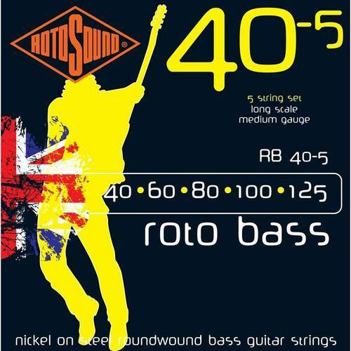 Encordoamento Baixo 5 Cordas Rotosound Rb40-5 Roto Bass Yellow 40/60/80/100/125
