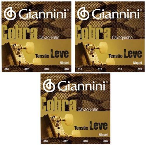3 Encordoamento Cavaquinho Giannini Cobra Leve Gescl