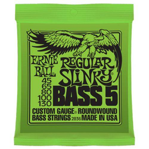 Encordoamento Contra Baixo 5 Cordas Ernie Ball 045 2836 Strings Regular Slinky