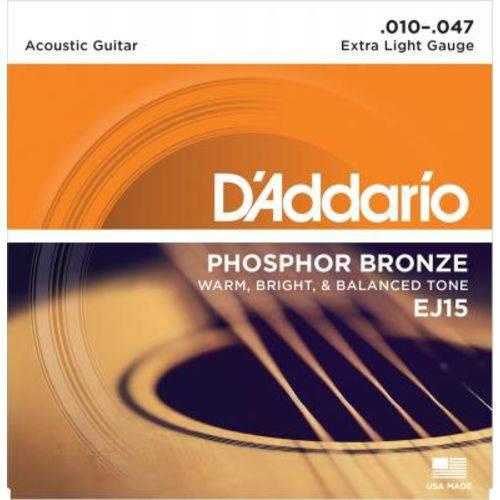 Encordoamento D'addario Violão EJ15 Phosphor Bronze, Light Extra, 10-47