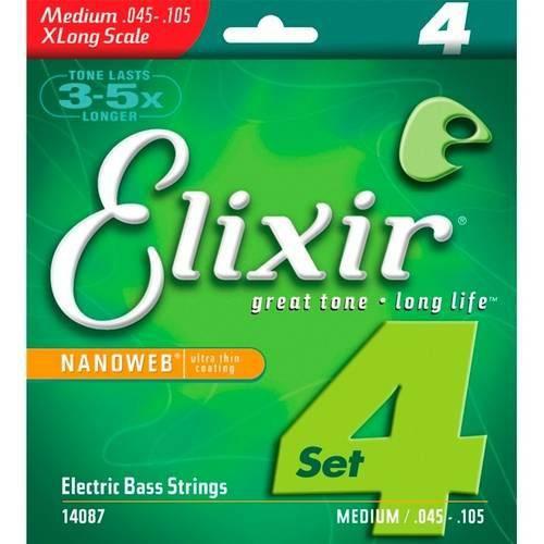 Encordoamento Baixo 4c Elixir 045 Medium/e.l.s