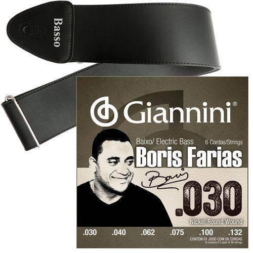 Encordoamento Giannini Baixo 6 Cordas Boris Farias SSBNBF6 + Correia Basso