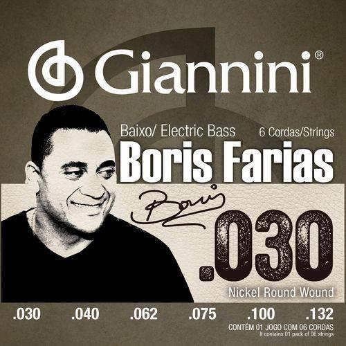 Encordoamento Giannini Baixo 6 Cordas Boris Farias SSBNBF6 Níquel Round Wound