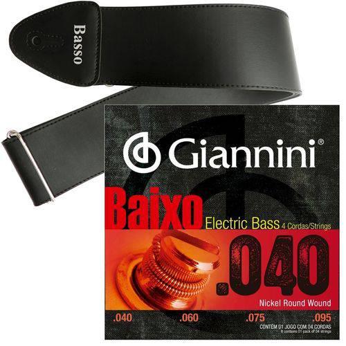 Encordoamento Giannini Baixo de 4 Cordas 040 095 GEEBRL + Correia Basso