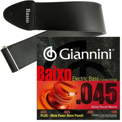 Encordoamento Giannini Baixo de 4 Cordas 045 105 GEEBRSP Plus + Correia Basso