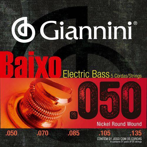 Encordoamento Giannini Baixo de 4 Cordas 050 105 GEEBRSX Níquel Round Wound