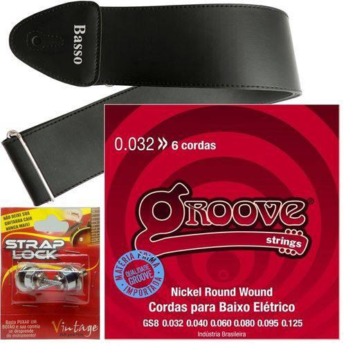 Encordoamento Groove Baixo 6 Cordas 032 125 GS8 + Strap Lock + Correia Basso