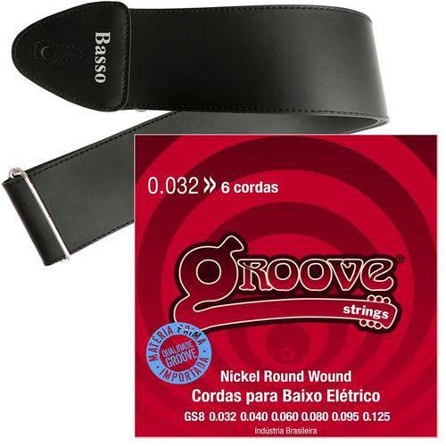 Encordoamento Groove para Baixo de 6 Cordas 032 125 GS8 + Correia Basso
