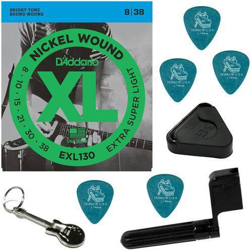 Encordoamento Guitarra 08 038 Daddario EXL130 Extra Super Light + Acessórios IZ1