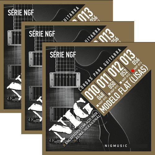3 Encordoamento Nig P/ Guitarra Flat Flatwound 013 056 NGF813