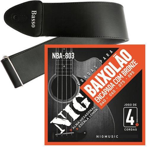 Encordoamento Nig para Baixolão de 4 Cordas 040 NBA803 + Correia Basso