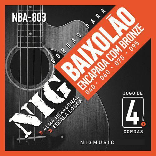 Encordoamento Nig para Baixolão de 4 Cordas 040 NBA803 Encapadas com Bronze