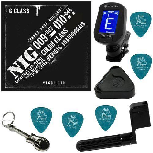 Encordoamento P/ Guitarra 010 046 Nig Color Class Preto N1640 + Kit IZ2