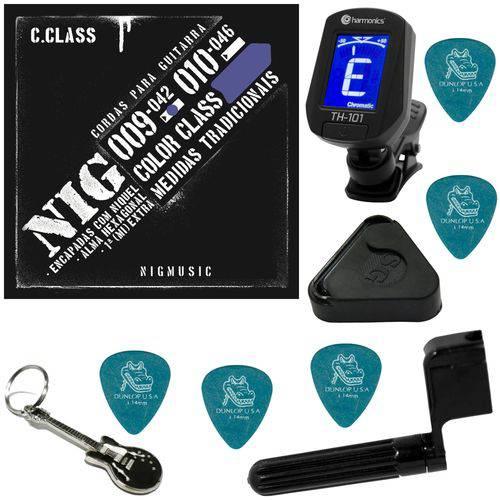Encordoamento P/ Guitarra 09 042 Nig Color Class Azul N1633 + Kit IZ2
