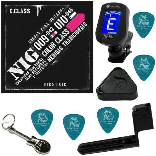 Encordoamento P/ Guitarra 09 042 Nig Color Class Rosa N1635 + Kit IZ2