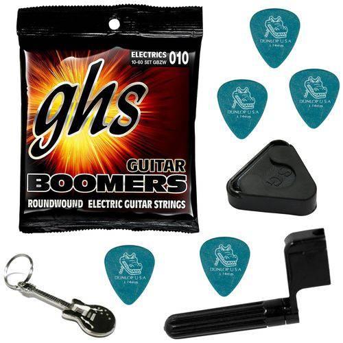 Encordoamento para Guitarra 010 060 GHS Boomers GBZW + Acessórios IZ1