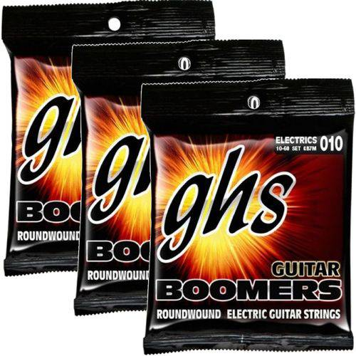 Encordoamento para Guitarra de 7 Cordas 010 GHS Boomers Medium GB7M - Kit com 3