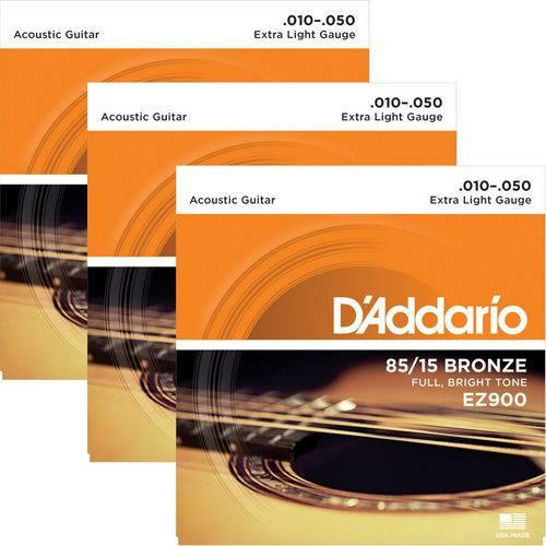 Encordoamento para Violão Aço 09 D'addario 85/15 Bronze EZ890 - 03 Unidades