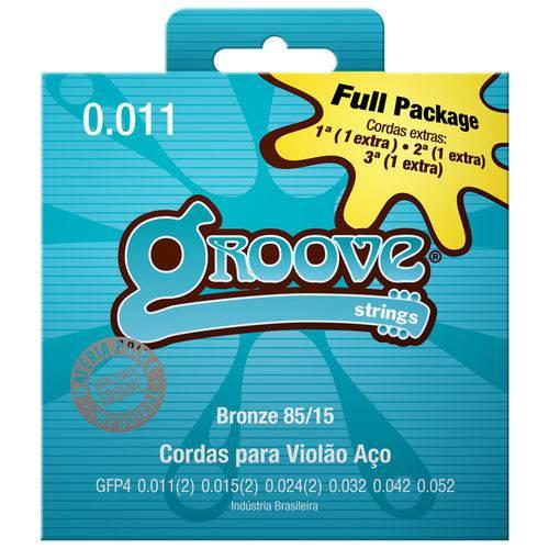 Encordoamento para Violão Aço Groove 011 GFP4 Bronze +3 Cordas Extras