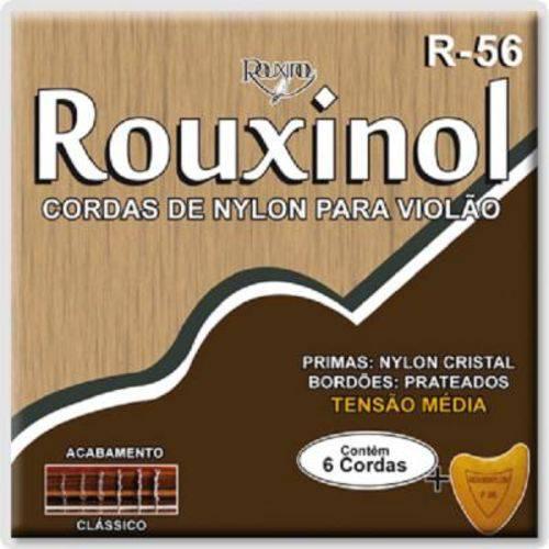 """Encordoamento Rouxinol para Violão Nylon R-56 - Tensão Média, .028""""/.043"""" + Palheta"""