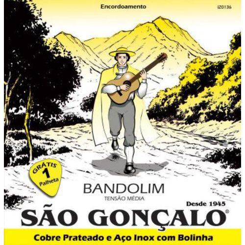 """Encordoamento São Gonçalo para Bandolim Iz 0136 - Tensão Média .011/.035"""" + Palheta"""